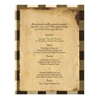 Rustic Country Black Sepia Checks Wedding Menu Flyer