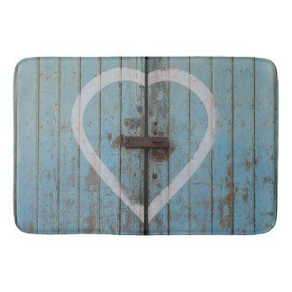 Rustic Country Blue Barn Door Heart Bath Mat