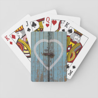 Rustic Country Blue Barn Door Heart Playing Cards