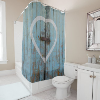 Rustic Country Blue Barn Door Heart Shower Curtain