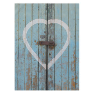 Rustic Country Blue Barn Door Heart Tablecloth