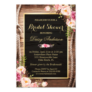 Rustic Country Bridal Shower Wood Knot Floral Wrap Card
