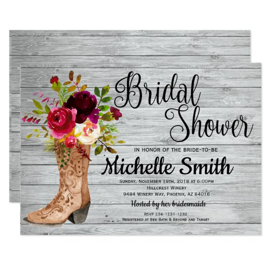 Rustic Country Bridal Western Boho Bridal Shower Card