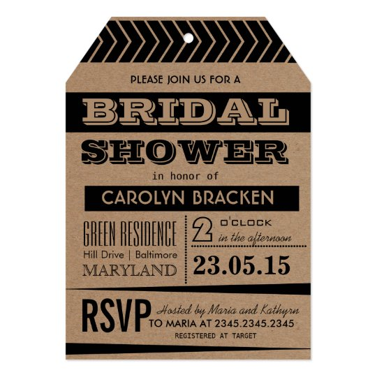 Rustic | Country Brown Black Bridal Shower Card