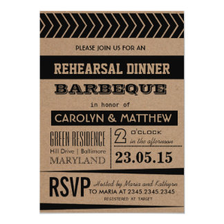 Rustic   Country Brown Rehearsal Dinner Barbeque Card