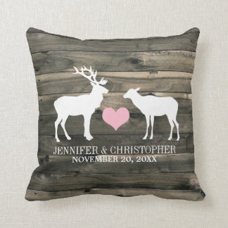 Rustic Country Buck and Doe Wedding Pillow