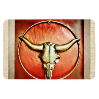 Rustic Country Bull Horns Faux Leather Design Magnets