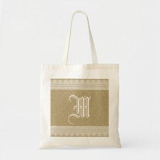 Rustic Country Burlap Chic Lace Monogram Budget Tote Bag