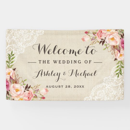 Rustic Country Burlap Lace Floral Wedding Party Banner