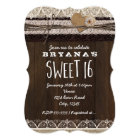Rustic Country Burlap & Lace SWEET 16 Invitation