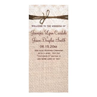 Rustic Country Burlap Lace Twine Wedding Program Rack Card Design