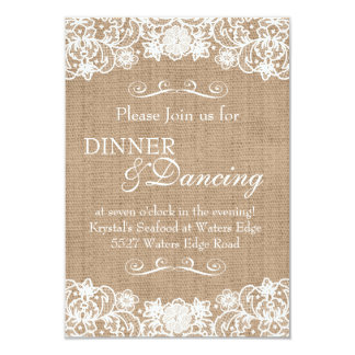 Rustic Country Burlap Lace Wedding Announcement