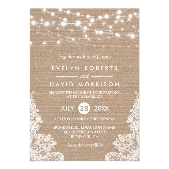 Rustic country burlap string lights lace wedding card for Free wedding invitation samples zazzle