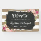 Rustic Country Burlap Stripes Floral Wedding Party Banner