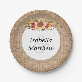 Rustic Country Burlap & Sunflower Wedding Paper Plate
