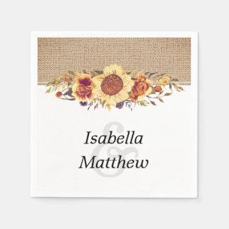 Rustic Country Burlap & Sunflower Wedding Paper Serviettes