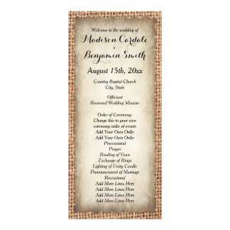 Rustic Country Burlap Vintage Wedding Programs Full Color Rack Card