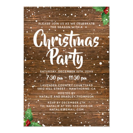 Rustic Country Business Company Christmas Party Invitation