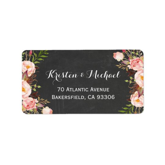 Rustic Country Chalkboard Beautiful Floral Address Label
