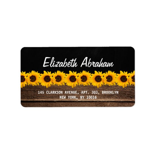 RUSTIC COUNTRY CHALKBOARD WEDDING | SUNFLOWERS ADDRESS LABEL
