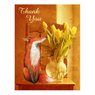 Rustic Country Charm Fox and Flowers Thank You Postcard