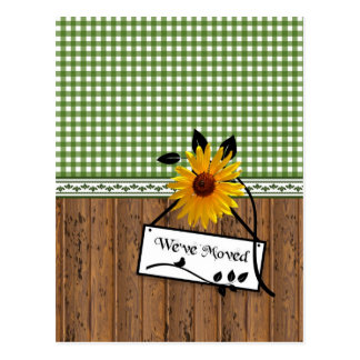 Rustic Country Charm Sunflower Moving Announcement Postcard