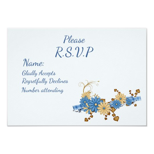 Rustic Country Chic, Blue Daisy and Burlap RSVP Card