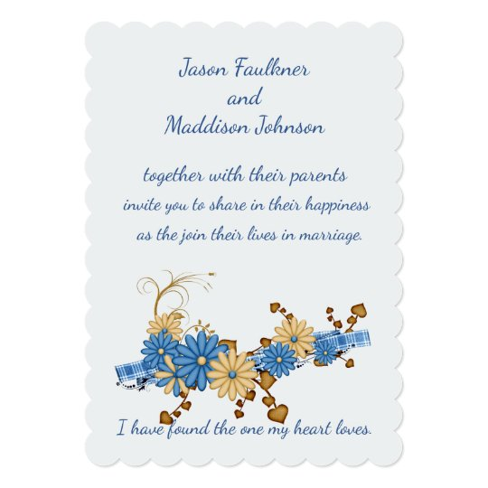 Rustic Country Chic, Blue Daisy and Burlap Wedding Card