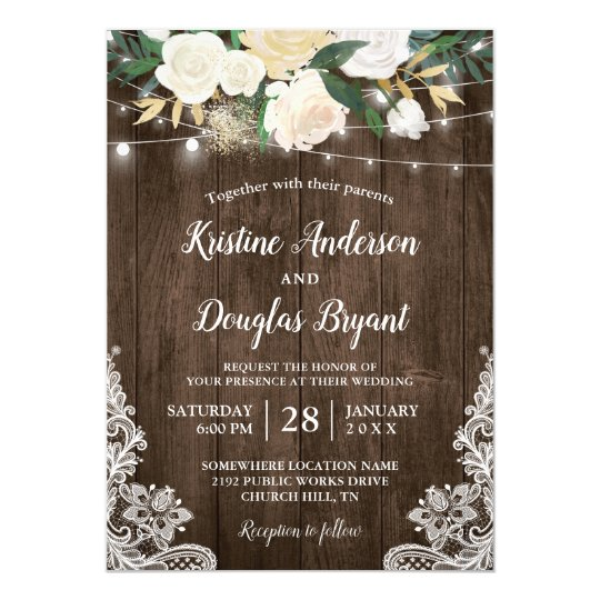 Country Wedding Invitations: Rustic Country Chic Floral String Lights Wedding