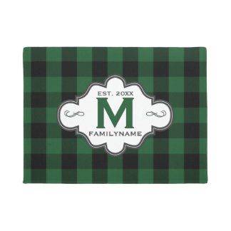 Rustic Country Chic Green Buffalo Plaid Monogram Doormat