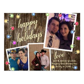 Rustic Country Christmas Lights 3 Photo Postcard