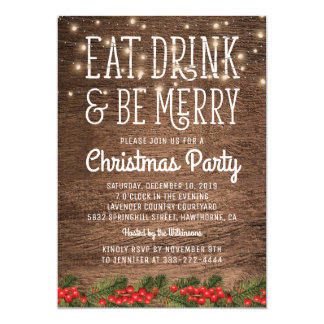 Rustic Country Christmas Party | Happy Holiday Card