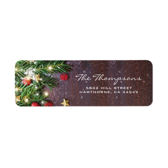 Rustic Country Christmas Red Gold Decorations Return Address Label