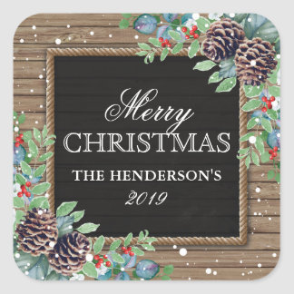 Rustic Country Christmas Winter | Happy Holidays Square Sticker
