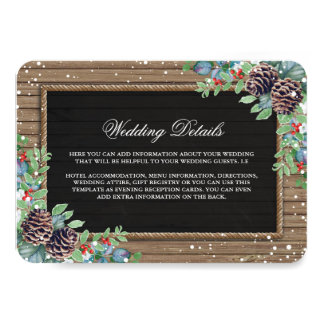 Rustic Country Christmas Winter Wedding Details Card