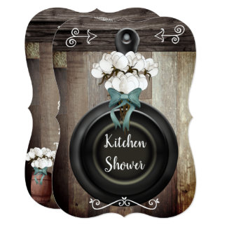 Rustic Country Cotton Boll Skillet Kitchen Shower Card