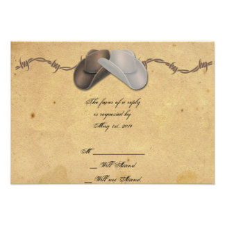 Rustic Country Cowboy Hats Barbed Response Card Personalized Announcement