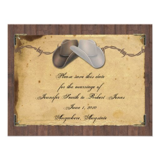 Rustic Country Cowboy Hats Barbed Save the Date Invitations