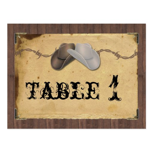 Rustic Country Cowboy Hats Barbed Table Number Postcards