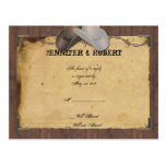 Rustic Country Cowboy Hats Barbed Wedding RSVP