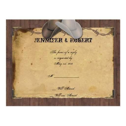 Rustic Country Cowboy Hats Barbed Wedding RSVP Post Cards