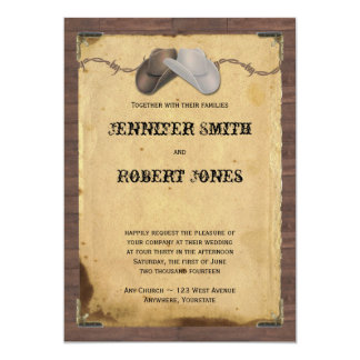 Rustic Country Cowboy Hats Barbed Wire Wedding 13 Cm X 18 Cm Invitation Card