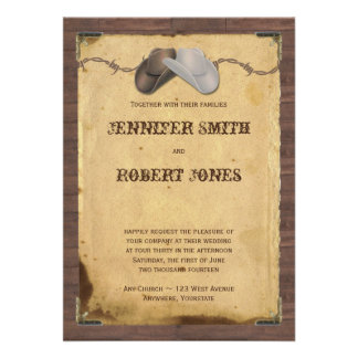 Rustic Country Cowboy Hats Barbed Wire Wedding Personalized Invites