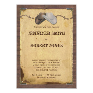 Rustic Country Cowboy Hats Barbed Wire Wedding 5x7 Paper Invitation Card