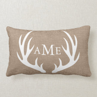 Rustic Country Deer Antler Faux Burlap Lumbar Cushion