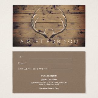 Rustic Country Deer Antlers Gift Card Certificate