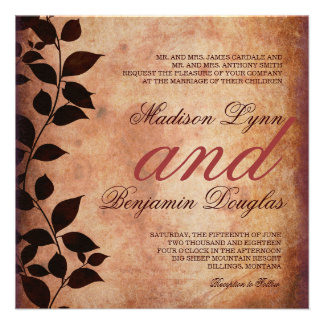 Rustic Country Fall Leaves Autumn Wedding Invites