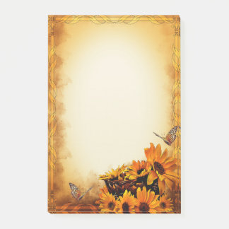Rustic country fall with golden sunflowers post-it notes