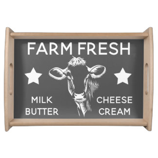 Rustic Country Farm Fresh Diary Cow Serving Tray