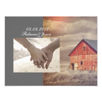 Rustic country farm red barn wedding photo